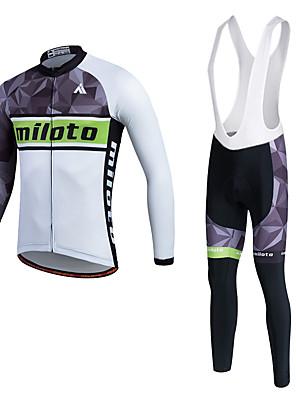 Miloto® חולצת ג'רסי וטייץ ביב לרכיבה לגברים / יוניסקס שרוול ארוך אופניים נושם / ייבוש מהיר / חדירות ללחות / 3D לוח / תומך זיעהמכנסיים /