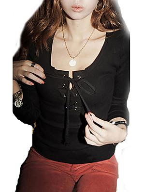 Mulheres Camiseta Casual Sensual / Moda de Rua Outono,Sólido Rosa / Branco / Preto Algodão Decote em U Profundo Manga Longa Média