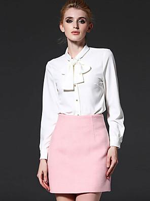 De frmz vrouwen werk spring shirtsolid lange koker witte polyester Staanplaatsen