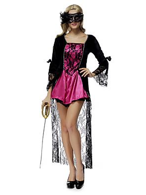 הופעות תלבושות בגדי ריקוד נשים ביצועים פוליאסטר / תחרה תחרה / קפלים 2 חלקים שרוול ארוך טבעי שמלות / מסכה 135CM
