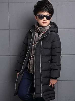 Boy's Casual/Daily Solid Down & Cotton PaddedPolyester Winter Black / Orange