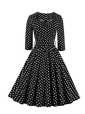 Dámské Vintage Jdeme ven / Velké velikosti Pouzdro / Swing Šaty Puntíky,Tříčtvrteční rukáv Hranatý Délka ke kolenům Černá BavlnaVšechna