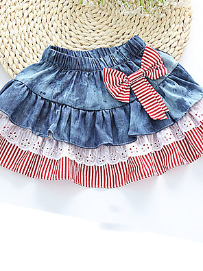 Girl's Casual/Daily Striped SkirtCotton Summer / Fall Blue / Red