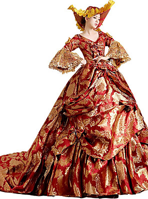 Uma-Peça/Vestidos Gótica / Doce / Lolita Clássica e Tradicional / Punk Steampunk® / Elegant Cosplay Vestidos Lolita Vermelho Floral3/4 de