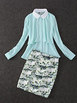 Langærmet Krave Medium Dame Blå Trykt mønster Efterår Simpel Arbejde Sæt Skjørte Suits,Polyester