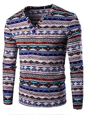 Print-Informeel / Sport-Heren-Katoen-T-shirt-Lange mouw Blauw / Paars / Rood