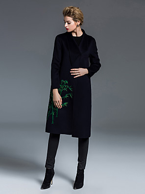 Dames Chinoiserie Winter Jas,Uitgaan Sjaalrevers-Lange mouw Zwart Geborduurd Medium Wol
