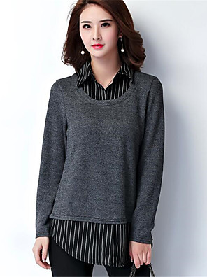 Women's Going out / Casual/Daily Simple Regular PulloverStriped / Color Block Gray Shirt Collar Long Sleeve Plus Size