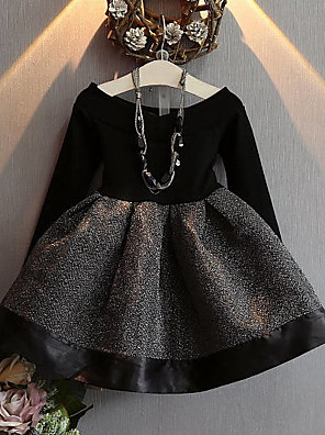 Girl's Casual/Daily Patchwork DressCotton / Polyester Spring / Fall Black