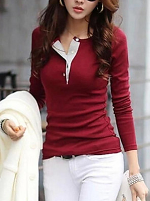 Women's Casual Solid Color Button Long Sleeve T-Shirt