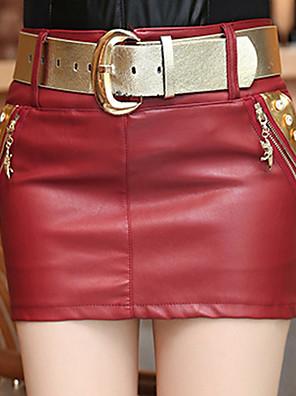 PU-Micro-elastisch-Street chic-Mini-Vrouwen-Rokken