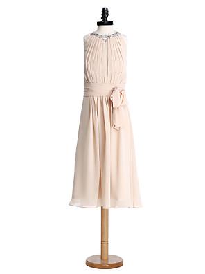 Longuette Chiffon Vestido de Daminha de Honra Tubinho Decorado com Bijuteria com Pregueado / Franzido / Lantejoulas