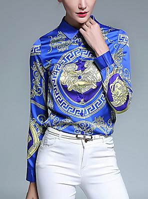 Feminino Camisa Casual Vintage Todas as Estações,Estampado Azul Poliéster Colarinho de Camisa Manga Longa Média