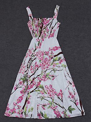 Dame Kineseri I-byen-tøj A-linje Kjole Trykt mønster,Med stropper Maxi Uden ærmer Hvid / Grøn Polyester Sommer Højtaljede Uelastisk Medium