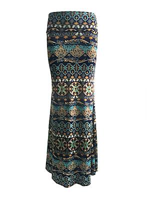 Damen Röcke - Übergröße / Boho Maxi Polyester / Elasthan Dehnbar