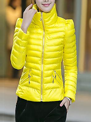 Dámské Standardní S vycpávkou Jednoduché Běžné/Denní / Velké velikosti Jednobarevné-Kabát Polyester Polyester Dlouhý rukáv StojáčekRůžová