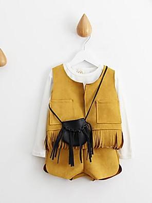 Menina de Camiseta / Colete / Conjunto,Casual Cor Única Algodão Outono / Primavera Amarelo