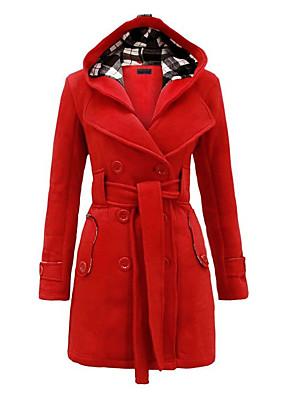 Damen Solide Einfach Lässig/Alltäglich / Übergröße Mantel Langarm Blau / Rot / Schwarz / Grau / Lila Wolle