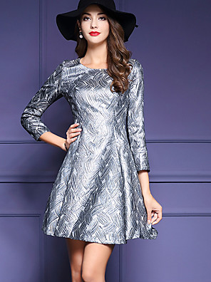 Women's Plus Size / Going out Street chic Sheath Dress,Print Round Neck Above Knee Long Sleeve Silver Polyester Fall / Winter Mid Rise