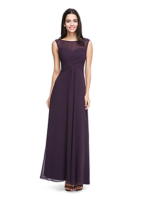 2017 לנטינג bride® שיפון באורך הקרסול לראות דרך שמלת השושבינה - א-קו Bateau עם כורכת צד