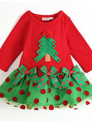 שמלה כותנה / כותנה אורגנית כל העונות שרוול ארוך יום יומי\קז'ואל סרוג / דפוס / טלאים הילדה של