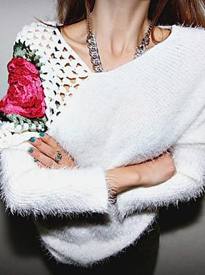 Dames Uitgaan / Casual/Dagelijks Sexy / Eenvoudig / Boho Normaal Pullover Effen-Wit / Zwart Assymmetrisch Lange mouw Acryl Herfst / Winter