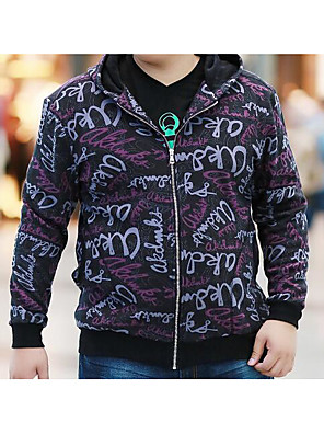 Men's Casual/Daily Simple Short Hoodies,Print / Letter Purple Hooded Long Sleeve Cotton Fall / Winter Medium Stretchy