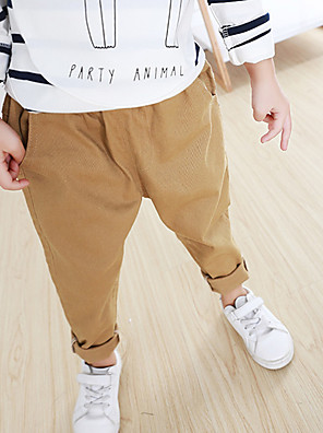 Boy's Casual/Daily Solid PantsCotton All Seasons Brown