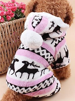 Gatos / Cães Camisola com Capuz / Macacão / Pijamas Azul / Marrom / Rosa / Cinzento Roupas para Cães Inverno / Primavera/Outono RenaFofo