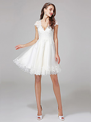 Lanting Bride® A-line N/A Wedding Dress - Classic & Timeless Floral Lace Knee-length V-neck Lace / Tulle with Appliques / Beading