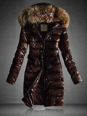 Dámské Dlouhé S vycpávkou Vintage / Jednoduché Velké velikosti Jednobarevné-Kabát Umělá kůže Polypropylen Dlouhý rukáv KapuceČerná /