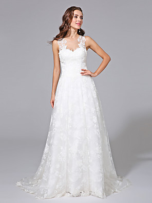 Lanting Bride® A-line Plus Sizes Wedding Dress - Elegant & Luxurious Spring 2013 / Floral Lace Sweep / Brush Train Jewel Lace with