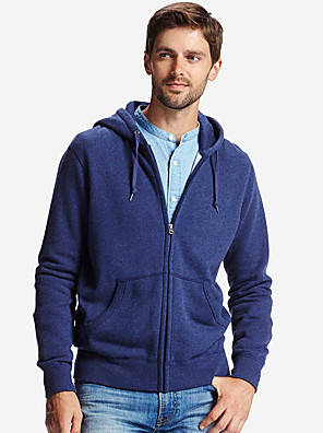 Men's Casual Solid Color Zipper Large Pockets Anti-snow Hoodie Cotton Long Sleeve Hedging Pullover Sweatshirts