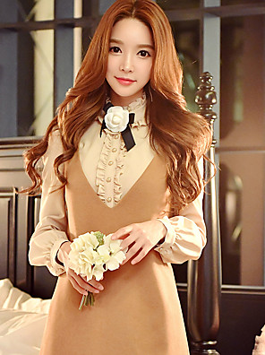 Women's Going out /Daily / Work Vintage / Cute / Sophisticated Shirt Solid Stand Long Sleeve