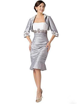 Pouzdrové Šaty pro matku nevěsty Ke kolenům Krátký rukáv Taft  -  Výšivka