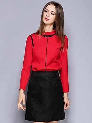 Dames Eenvoudig Lente / Herfst Overhemd Rok Suits,Casual/Dagelijks Effen Strakke ronde hals Lange mouw Rood Overige Medium