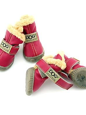 כלבים נעליים ומגפיים אופנתי / Keep Warm חורף אחיד Red / ירוק / כחול / Black / לילך ורוד PU עור