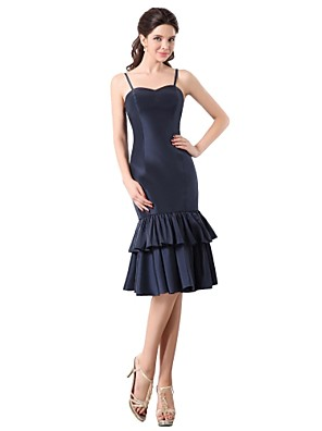 באורך  הברך טפטה שמלה לשושבינה  - אלגנטי מעטפת \ עמוד רצועות ספגטי עם קפלים מדורגים