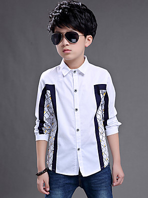 Boy's Wild Formal Check Plaid Patchwork Cotton Long Sleeve Shirt