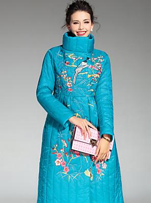 Damen Gefüttert Mantel Chinoiserie Lässig/Alltäglich Stickerei-Andere Polypropylen Langarm Blau / Rot Rollkragen