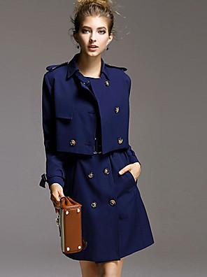 Dames Eenvoudig Winter Set Rok Suits,Casual/Dagelijks Effen Overhemdkraag Lange mouw Blauw Overige