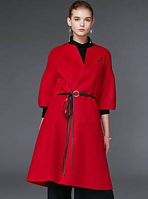 Damen Solide Einfach Lässig/Alltäglich Mantel,Winter Rundhalsausschnitt Langarm Rot / Schwarz / Grün Wolle
