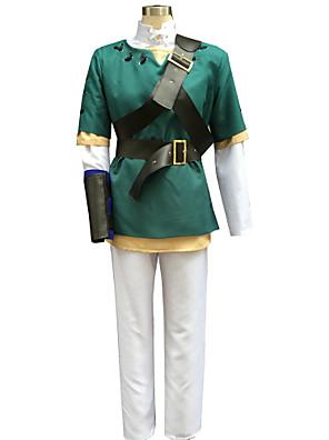 Inspirado por The Legend of Zelda Link Anime Fantasias de Cosplay Ternos de Cosplay Patchwork Branco / Verde Manga CompridaCasaco / Top /
