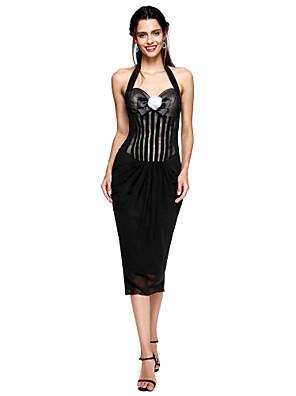 TS Couture® מסיבת קוקטייל שמלה - שמלה שחורה קטנה מעטפת \ עמוד קולר באורך הקרסול שיפון עם פפיון(ים) / פרח(ים) / קפלים
