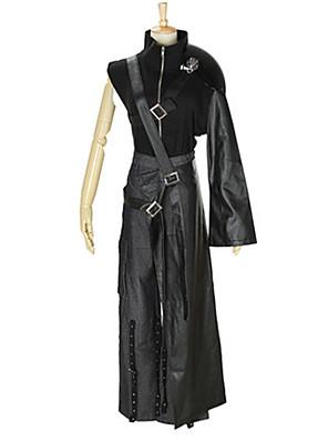 קיבל השראה מ Final Fantasy Cloud Strife אנימה תחפושות קוספליי חליפות קוספליי אחיד שחור עליון / מכנסיים / אביזרי מותניים / חגורה
