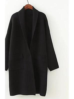 בינוני (מדיום) סתיו / חורף כותנה שרוול ארוך צווארון חולצה שחור / חום אחיד פשוטה יום יומי\קז'ואל קשמיר רגיל נשים מיקרו-אלסטי