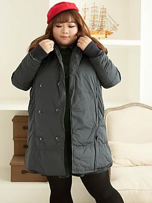Damen Daunen Mantel,Standard Einfach Lässig/Alltäglich / Übergröße Solide-Polyester Weiße Entendaunen Langarm Blau Mit Kapuze