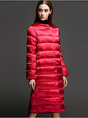 Casual/hétköznapi Egyszerű Kabát-Női Egyszínű Szokványos Sportos kabátok Poliészter Fehér kacsapehely Hosszú ujj Piros / Fekete