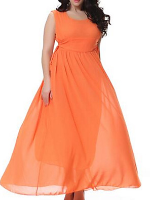 Women's Going out / Casual/Daily / Party/Cocktail Simple Loose Dress,Solid V Neck Maxi Sleeveless Orange Polyester Summer Mid Rise