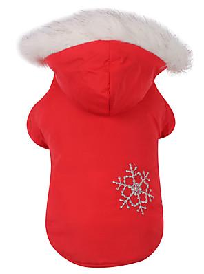 honden Jassen / Hoodies Rood / Bruin Hondenkleding Winter Sneeuwvlok  Omkeerbaar / Houd Warm / Kerstmis